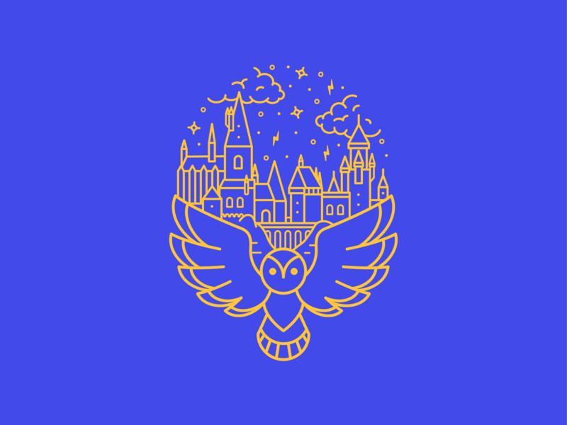 Hogwarts line art lightning bolt castle owl hedwig harry potter harrypotter hogwarts vector icon illustration