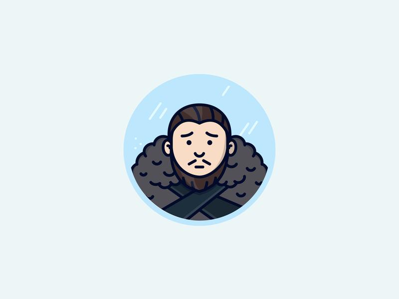 Jon Snow fur guy beard ice winter is coming snow winter aegon targaryen jon snow got game of thrones vector icon illustration