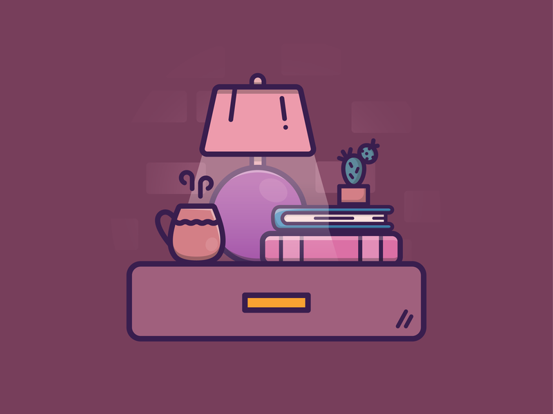 Cozy scene bedtime bed cozy nightstand brick wall lighting light plant cactus books lamp coffee mug coffee living home vector icon illustration