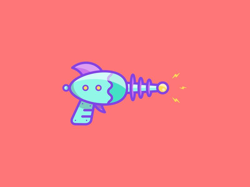 Blaster laser electric colorful raygun gun alien future futurama blaster space vector design icon illustration