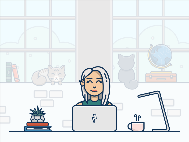 My Workspace indoor outdoor books plant brick wall suitcase globe pet cat cats coffee cup desk computer office workspace person design vector icon illustration