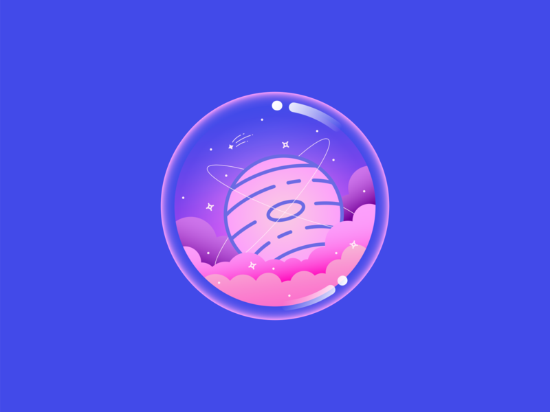 In The Clouds imagination jupiter orbit galaxy shooting star magic colorful clouds ring star planet bubble orb space vector illustration
