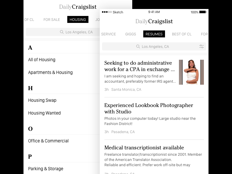 Daily Classifieds Craigslist app by Zmicier Aqua on Dribbble