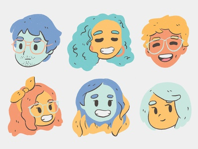Faces colorful color illustration 2d illustration flat face character design character