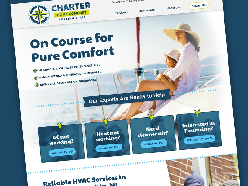 HVAC Company took a bold branding direction website identity branding seas charter comfort navigate iaq ac cooling heating xd typography google fonts design hvac