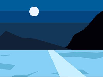 night landscape hill landscaping landscape design landscape illustration moon night landscape clean illustration vector flat design