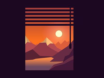 A view from window minimal web illustrator branding identity icon design vector flat illustration