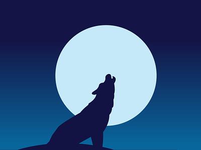 Wolf Howling minimal clean flat illustrator design illustration vector