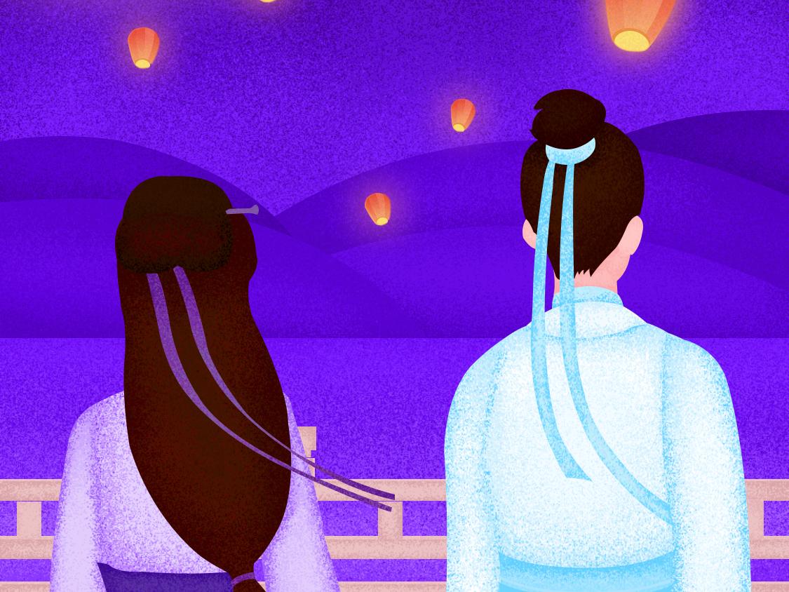 Qixi illustration design