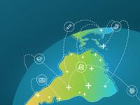 South America communication map