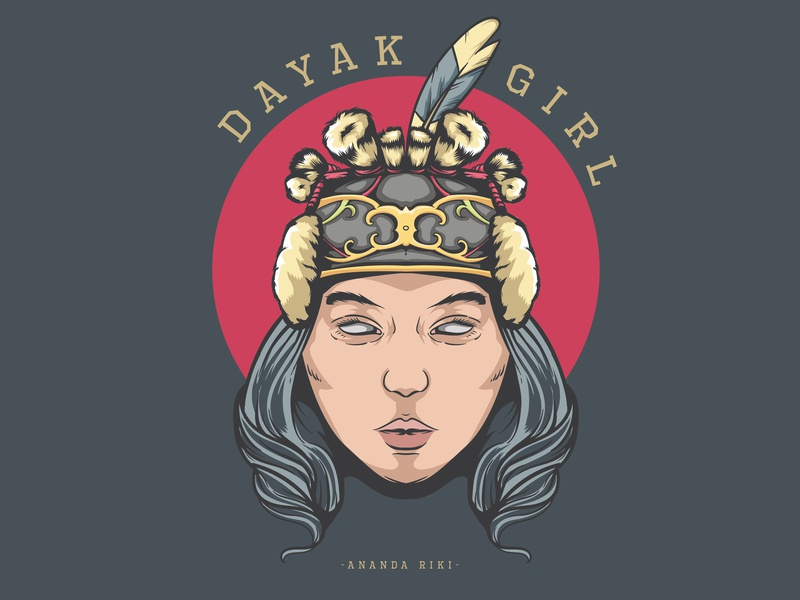 Dayak Woman branding badge sketch dayak ethnic design symbol icon head graphic design vector illustration