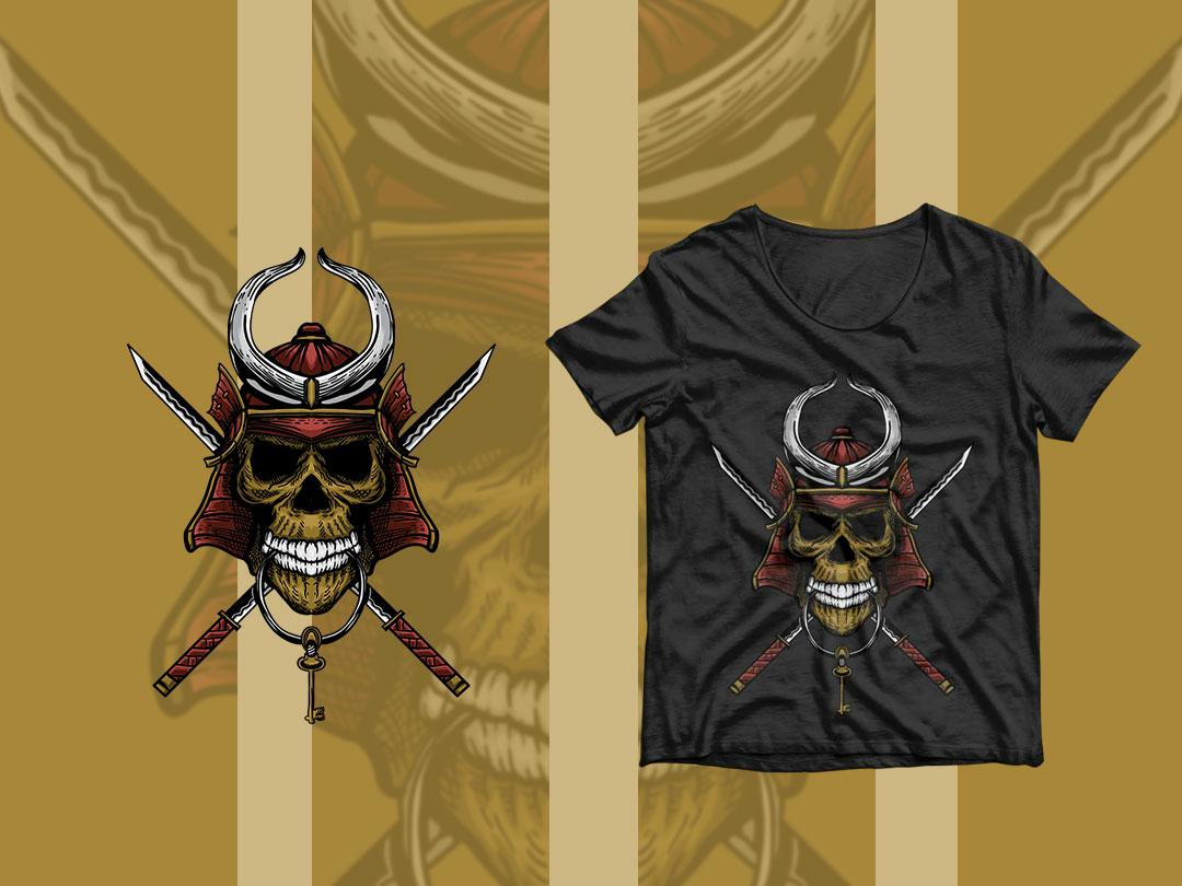 Samurai Key Skull tshirt design tshirt merchandise merchandise design death key skull samurai head ethnic design symbol icon graphic design vector illustration