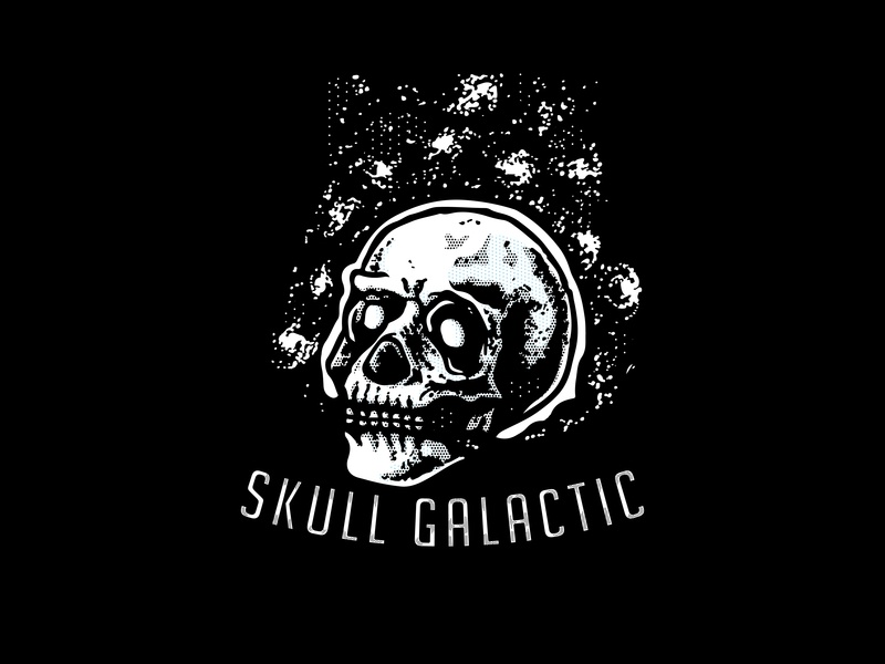 Skull Galactic galaxy galactic logo symbol skull head design graphic design vector illustration