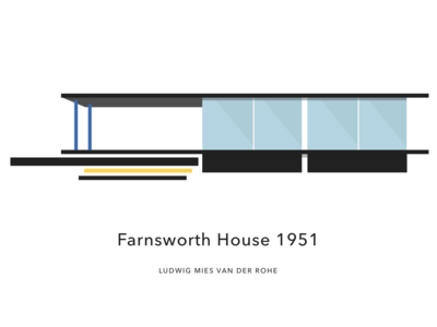 Farnsworth House illustration bauhaus visual identity graphic profile