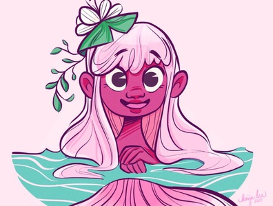 Pond Merm - #Mermay2020 pink design body positivity cartoon art animation cute character design illustration mermay2020 mermaid cartoon