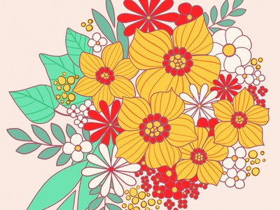 HUEvember Floral Fun - 02 - Yellow vintage flowers 70s flower power 1960s vintage tattoo art floral art flower huevember