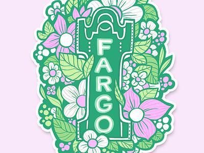Flowery Fargo  |  Sticker Illustration branding groovy cartoon art 1960s illustration cute cartoon digital painting sticker graphic design green pink flowers floral mod floral mid century fargo theatre north dakota fargo nd fargo
