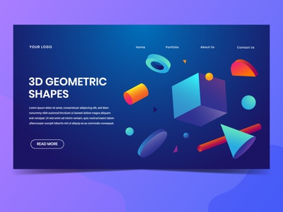 3D Geometric Shapes Landing Page Design