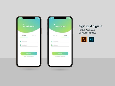 Sign Up and Sign In iOS & Android UI Kit Template