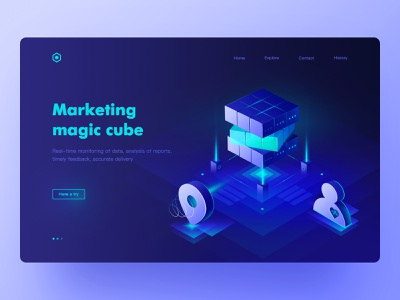 Marketing magic cube Web Page web design website design website web ux 2.5d visual ui future image design icon illustrations