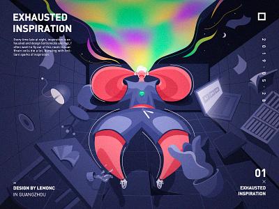 Exhausted inspiration design icon illustration visual image illustrations