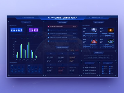 X space monitoring system web design space astronaut ux science visual future icon design ui