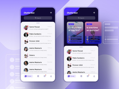 Chatterbox social contact app design visual icon ux ui
