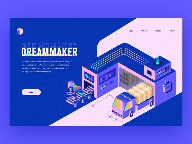 Dreammaker - Web Exercise 2.5d branding logo technology astronaut science image icon illustrations ui