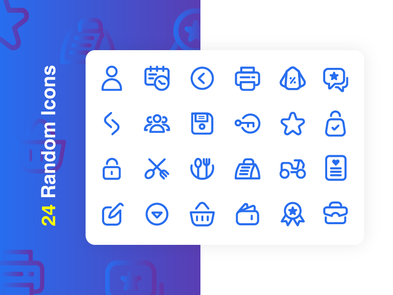 24 Random Icons Free illustration vector icon