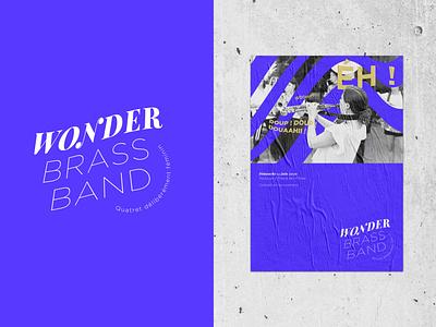 Wonder Brass Band music logo branding illustrator typography design