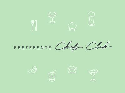Preferente Chefs Club train restaurant food vector logo illustrator typography branding design