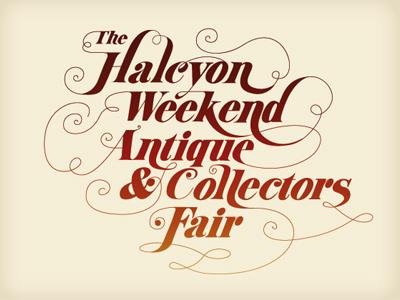 Halcyon typography illustrator lettering design halcyon antique ornate illustration retro