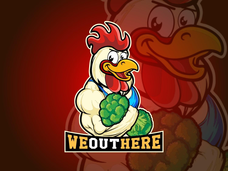 Muscular Chicken Logo vector logo design buy logo big logo versatile logo illustration cartoon mascot mascot logo chicken logo rooster mascot logo chicken mascot muscular chicken logo