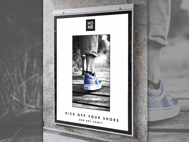 Get Comfy poster photoshop black and white branding art photograph poster design less is more clean 2020 shoe quote graphic design poster