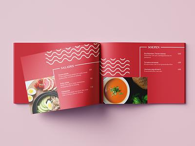 Modern Menu booklet salads soup restaurant card menu card modern graphic design food design concept branding brand 2d