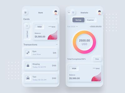 ☀️ Light Mode ☀️ Banking app 💸 trends 2020 neumorphic elements figma neumorphic style neumorphic minimal typography app concept home screen ui ux
