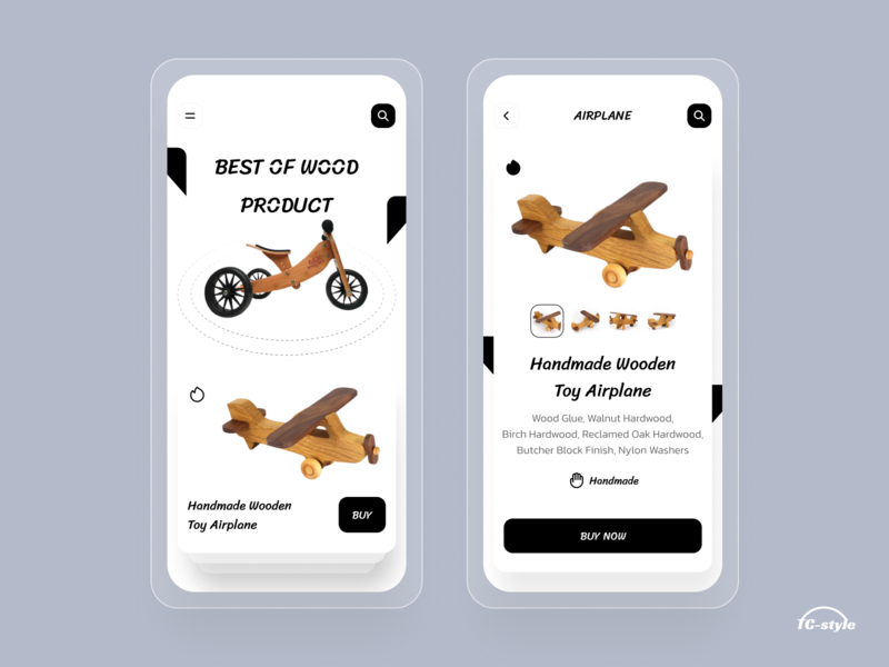 Wooden Toys Store App woodcut wooden toystore toyapp toys wood trend 2020 tc-style minimal typography home screen app concept 2020 trend modern ui ios app design ios app ui ux
