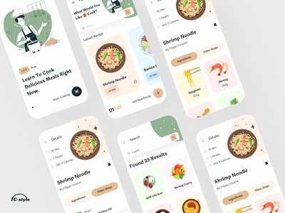 Knock Recipes App clean card layout food app food delivery app recipe cook restaurant dish grocery app flat design minimal modern ui 2020 trend typography ios app design app concept home screen ux ui