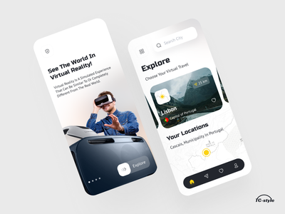 VR Travel Guide App augmented reality virtual reality gps maps destination travel trip vr ar place city minimal modern ui 2020 trend app concept home screen ux ui
