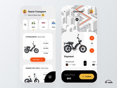 Starix Transport App rental app rental navigation ship car rent bike 2021 modern ui minimal 2021 trend ios app design app concept home screen ux ui