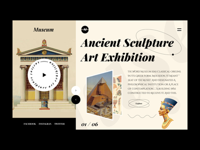 Museum - History adventure virtualreality ancient egypt ancient history antiquity exhibition museum of art museum webdesign website web 2021 trend modern ui home screen ux ui