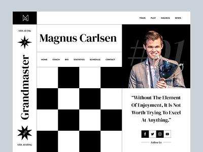 Magnus Carlsen - Personal Portfolio personal portfolio personal chessboard chess black black  white dark 2021 trend website web webshocker header hero section hero minimal typography modern ui home screen ux ui