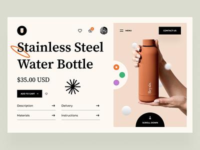 Nexus - Product Page product page ui8 bottle branding landing page e-commerce product website webdesign web 2021 trend minimal logo modern ui ux ui
