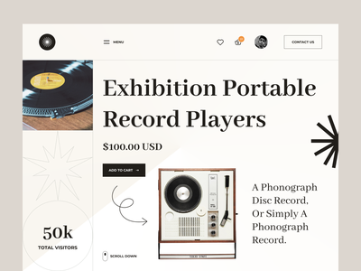 Portable Record Players Website library song instrument playlist player play record maker beat ui8 ui8net 2021 trend website web typography design minimal modern ui ux ui
