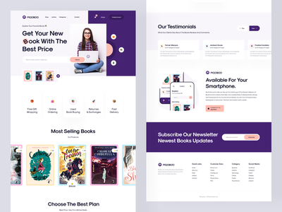 Piqoboo - Book Landing Page landing page reading editorial book online book store online book reading app ebook book store education audiobook library books book app website web minimal modern ui ux ui