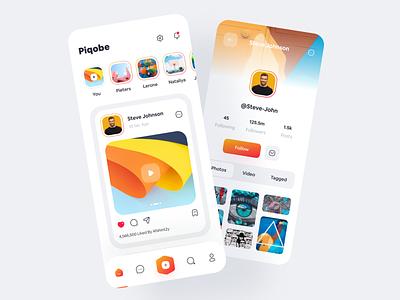 Piqobe - Social Media App. mobile social app applanding stories call chat follow game chat mobile application socialmedia mobile app social social network web minimal ios app design app concept modern ui ux ui