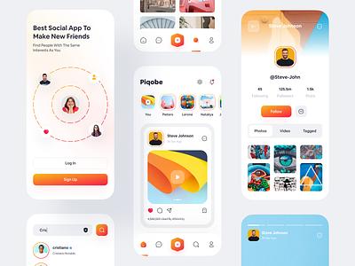 Piqobe - Social Media App app landing page stories mobile social app search chat easy clean mobile socialmedia social social network app web ios app design logo design minimal modern ui ux ui