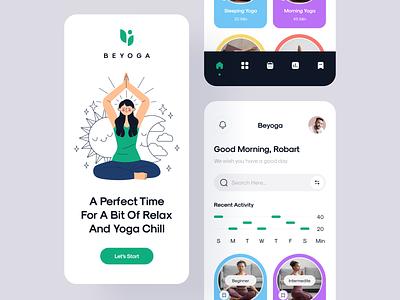 Yoga App gym app practice meditation sport workout color graph tracking app yoga app yoga physical activity illustration modern ui minimal mobile app mobile app ux ui