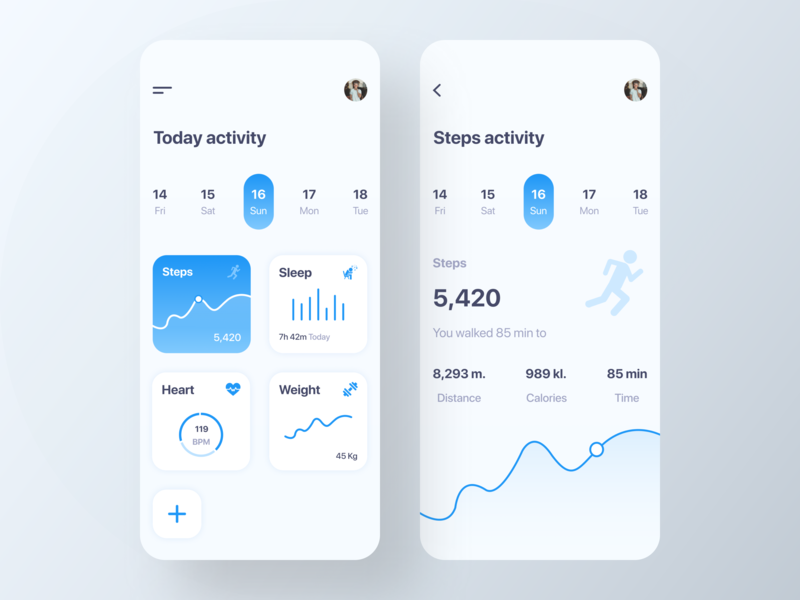 Health Activity Tracker website dashboard ui home screen ios app design fitness activity tracker health activity tracker analytics health tracker app health app fitness tracker app fitness app gradient ux typography app ui design app concept android app ios app