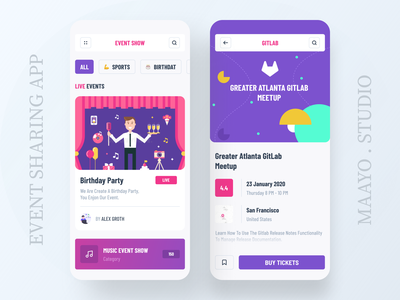 Event Sharing App event booking app colorful ui event ios app event app event branding illustration ticket booking home app concept ios app design ux ui